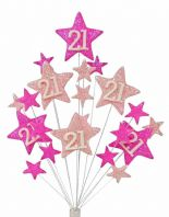 Star age 21st birthday cake topper decoration in shades of pink - free postage
